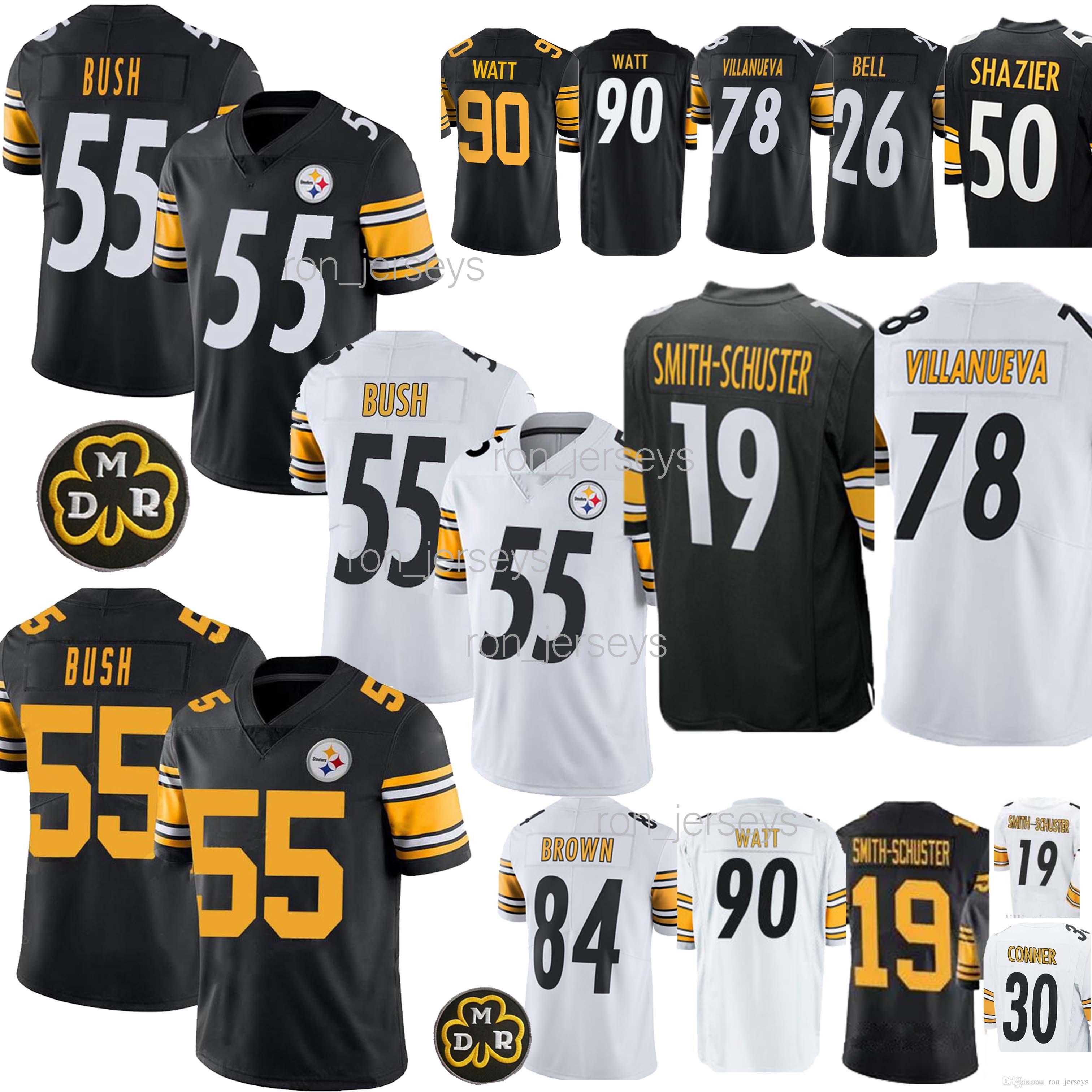 huge selection of ce1ff c1645 55 Devin Bush Steelers Jersey Pittsburgh 84 Brown 78 Villanue 19 Juju  Smith-Schuster 90 T.J. Watt jerseys 2019