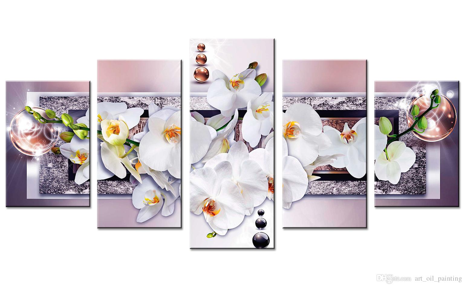 Unframed 5 Pieces Purple Butterfly Orchid Flower Art Print Canvas Painting Contemporary Wall Picture Home Decor for Living Room Decoration