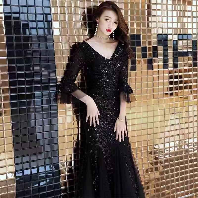 b91222cff Vestido Jeans Custom Made Chiffon Lace Mãe Da Noiva Vestidos Com Decote Em V  Meia Mangas A Linha De Mãe Do Noivo Vestido De 2018 Novos Vestidos De Noite  ...