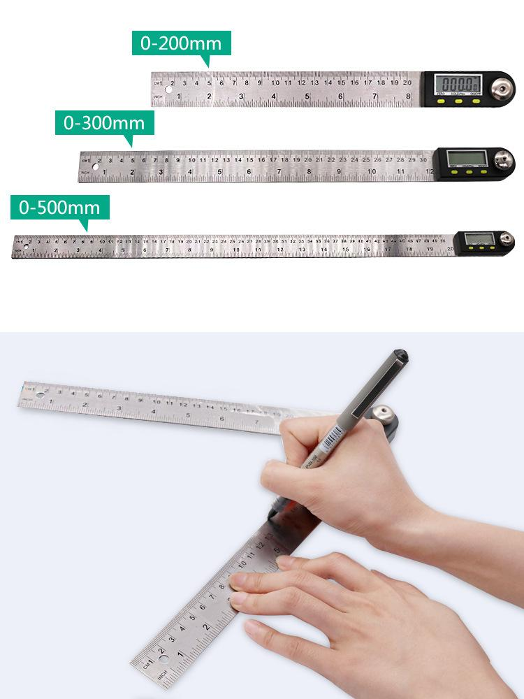 0-200mm/8 inches Stainless Steel Digital Protractor angle ruler Angle Finder angle measuring tool + Reversible Reading Hold Func
