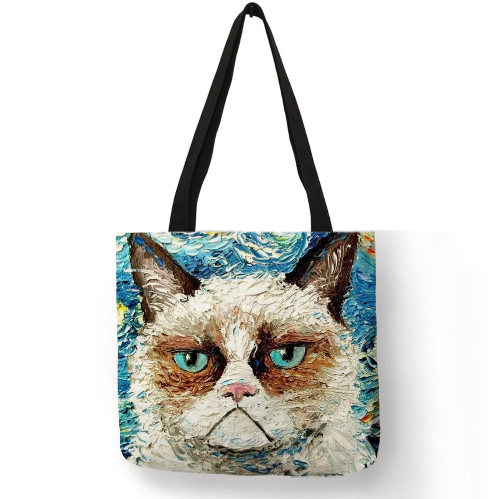 76d923aa1617 Designer Customize Creative Kitty Cat Tote Bags For Women Linen Bag Wish  Print For Lady Shopping Bags Traveling Tote Pouch Briefcase Leather Backpack  From ...