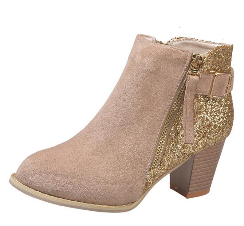 1b7f1f105a6 Ladies Chaussure Women Shiny Glitter Shoes Woman Zapatos Mujer Sapato Girls  Ankle Boots Chunky High Heels Bling Booties XZ181166