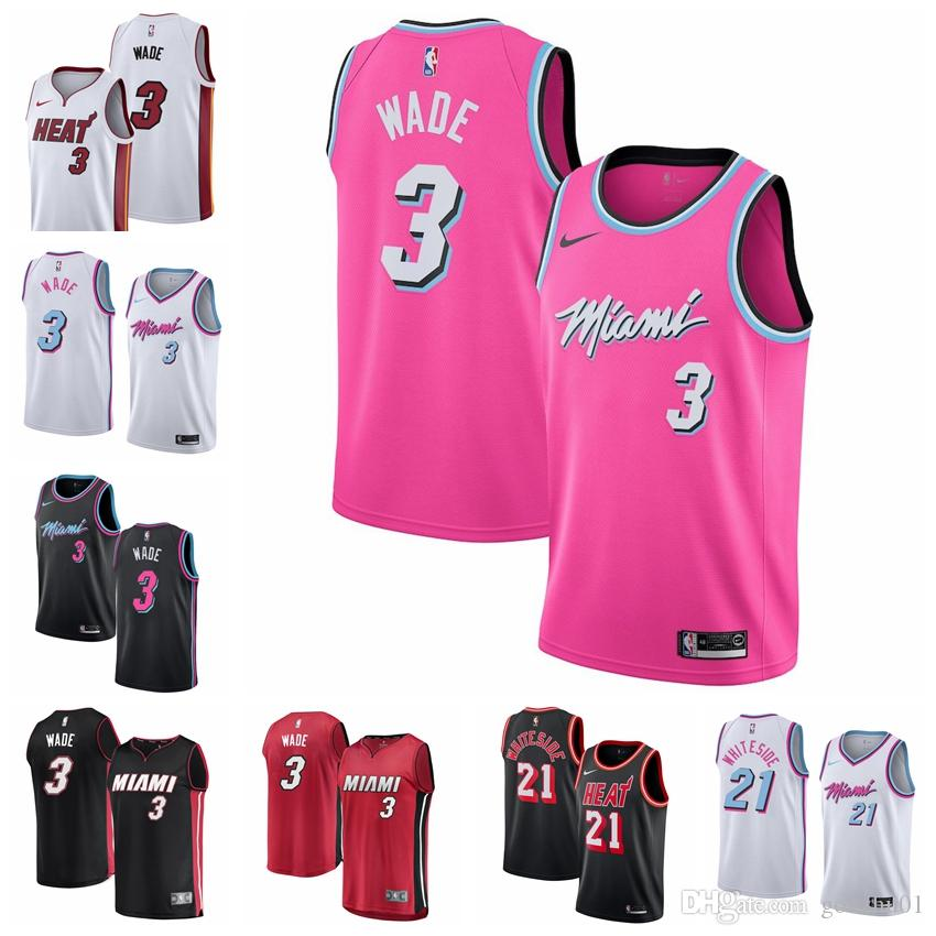 online retailer 896b4 17682 2019 Miami newest dwayne jersey 100% stitched Heats 3 Wades Embroidered  Logo black white pink shorts mens Jersey