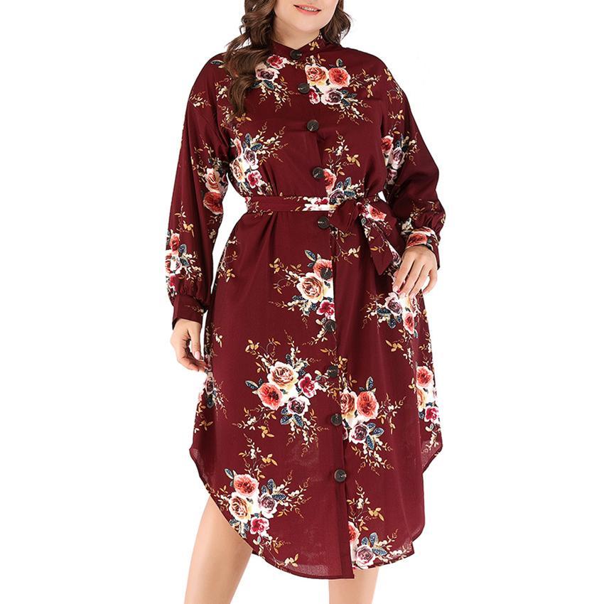 b99e75bc607c Acquista Vestito Da Donna A Maniche Lunghe Plus Size Spiaggia Abiti Vintage  Maxi Flower Print Casual Cintura Lace Up Tunic Abiti Di Grandi Dimensioni A  ...