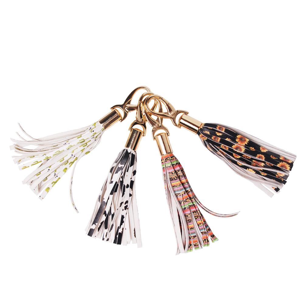 Sunflower Bag Charmer Bullskull PU Bag Clip Leopard Tassel Keychain With Bag Hook Wedding Gift Key Chains DOM1061256