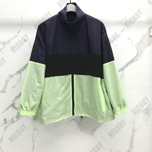 best quality fashion designer brand mens clothing windbreaker letter print patchwork color zip streetwear outwear wind dust coat jacket