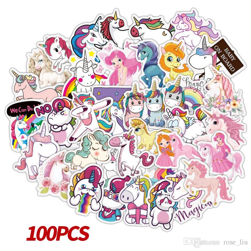 100 pcs/set Game Unicorn Graffiti Sticker Personality Luggage DIY stickers cartoon PVC Wall stickers bag accessories kids gift toys B