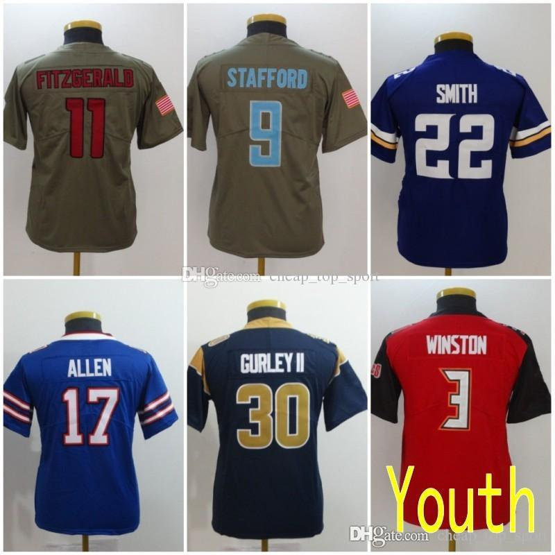 separation shoes 64b72 b5cd9 Youth Kids Jersey Larry Fitzgerald Josh Allen Matthew Stafford Todd Gurley  II Harrison Smith Jameis Winston Salute to Service Stitched