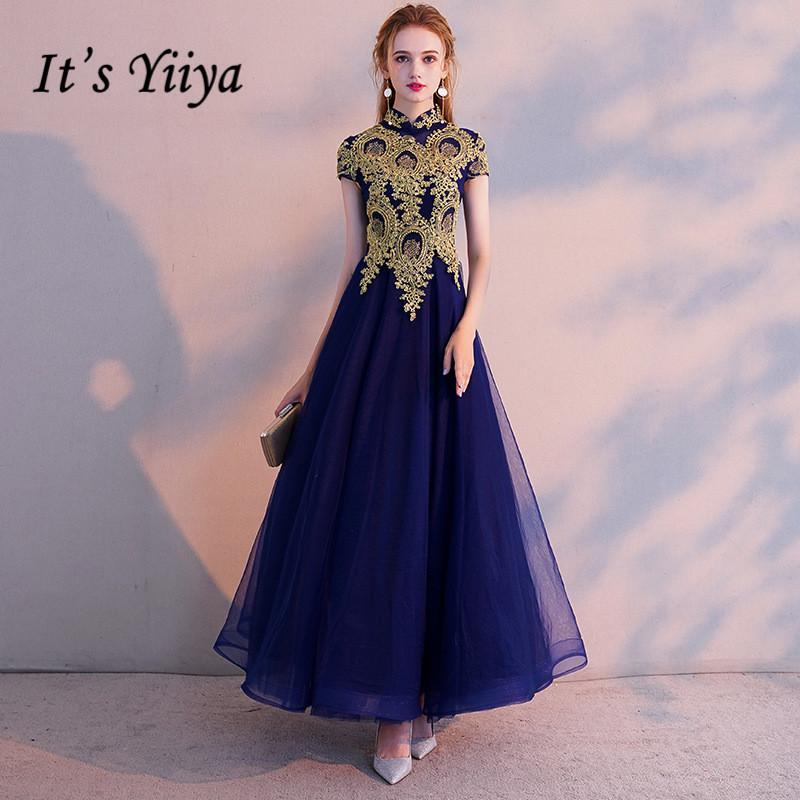 b347cf58ca749 It s YiiYa Evening Dress Vintage Gold Lace Embroidery Party Dresses Elegant  Blue Zipper Long Formal Gown For Women