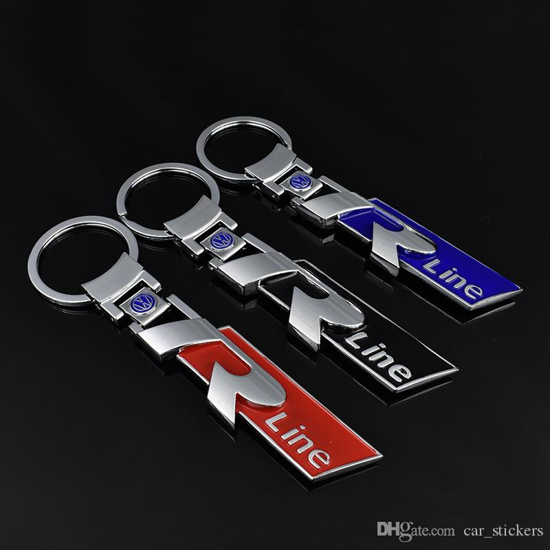 3D Alloy Metal Keyring Keychain Car Logo R Line Rline Fit for Volkswagen VW Polo Golf Passat CC R32 R36 Key Ring