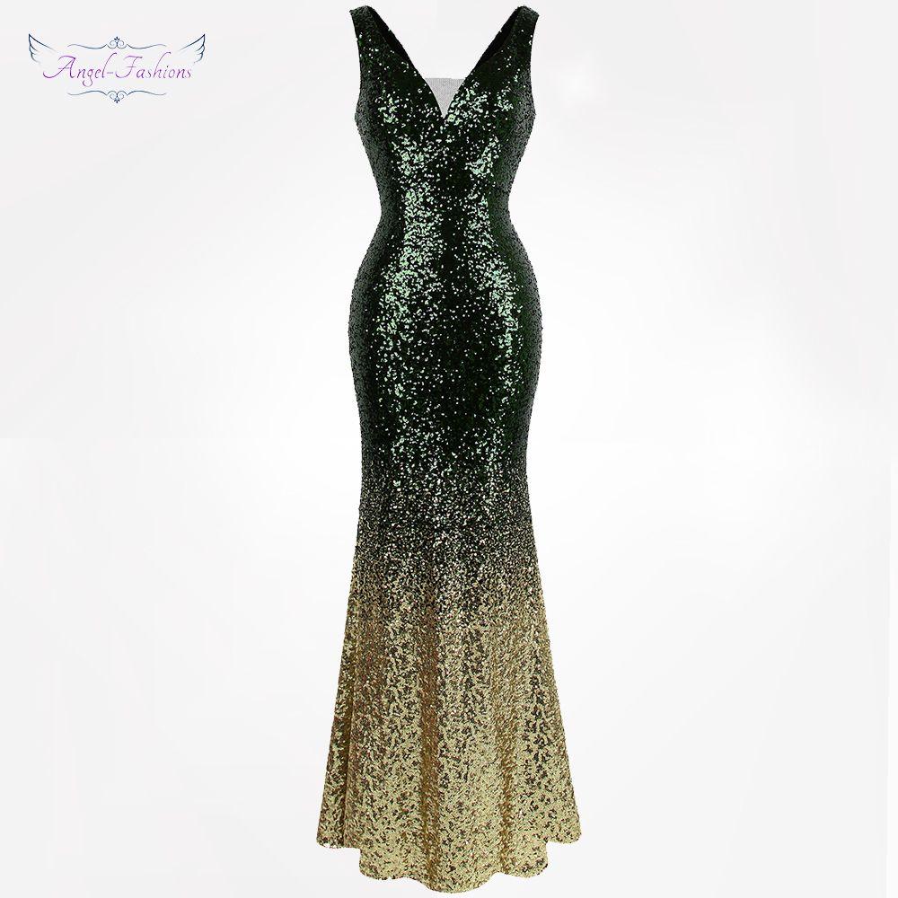 4d6d8068528 2019 Angel Fashions Women S Gradient Sequin Mother Of Bride Dresses ...