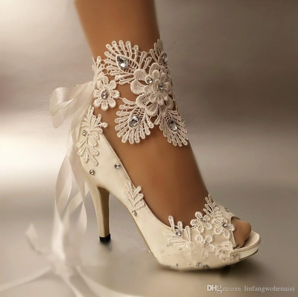 Wedding Bridal Heels: Dress Shoes Women Pumps Open Toe Lace Wedding Shoes Peep
