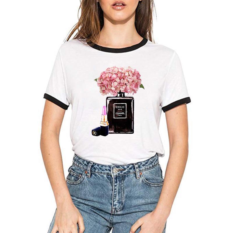 5fe033108 Suumer Women T Shirt VOGUE Perfume Paris Printing Brand Female T Shirt  Casual Loose Short Sleeve O Neck Tops Camisetas Mujer Mens T Shirt Cool  Tshirt ...