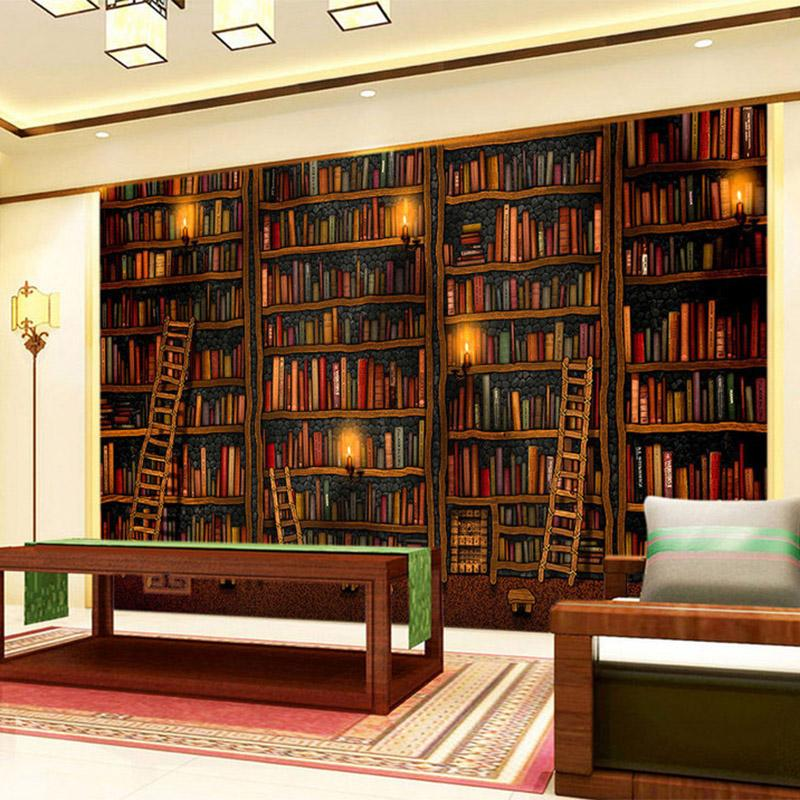 3D Wallpaper Classic Bookshelf Oil Painting Photo Mural Study Library Living Room Backdrop Wall Home Decor Papel De Parede 3D