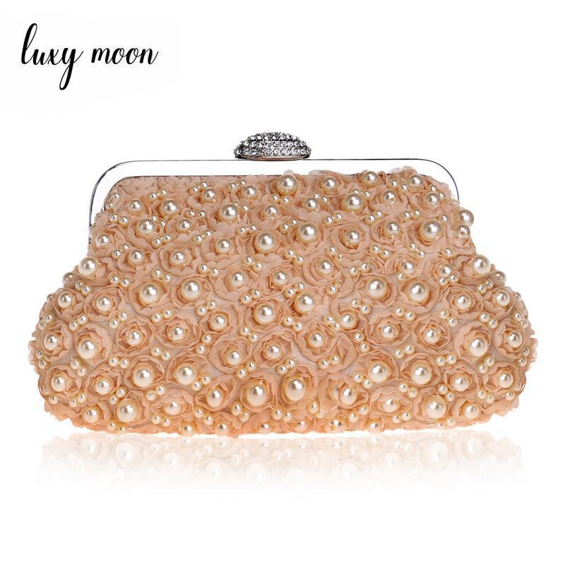 Champagne Flower Evening Bags Pearls Beaded Clutch Bag Female Wedding Party Bag Small Day Clutches Purse Women Chains Handbag