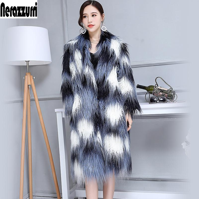 2372bf14889 2019 New 2017 Winter Faux Fur Coat V Neck Long Warm Shaggy Fluffy  Multicolor Female Mongolia Sheep Fur Overcoat Plus Size 5Xl 6xl 7xl From  Dartcloth