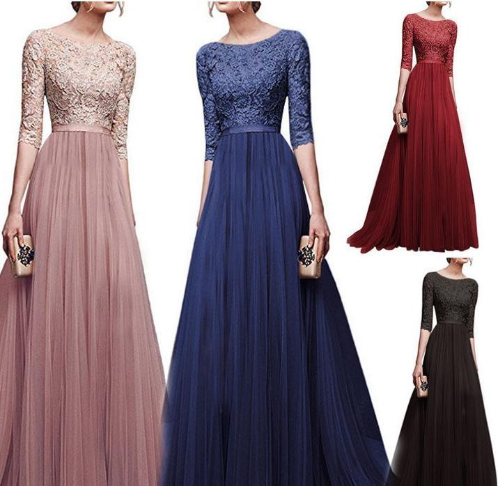 In Stock Pink Grace Lace Plus Size Mother of the Bride Dresses Chiffon Floor-length Front Split Formal Evening Dresses Mother s Dresses