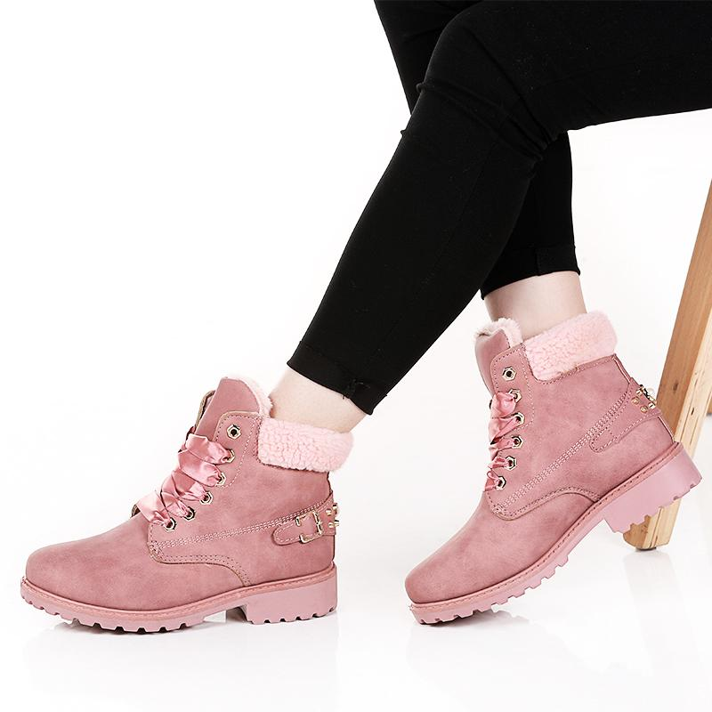 a4bd573b59439 New Pink Women Boots Lace Up Solid Casual Ankle Boots Booties Round Toe  Women Shoes Winter Snow Warm British Style H 119 Womens Boots Boots Uk From  ...