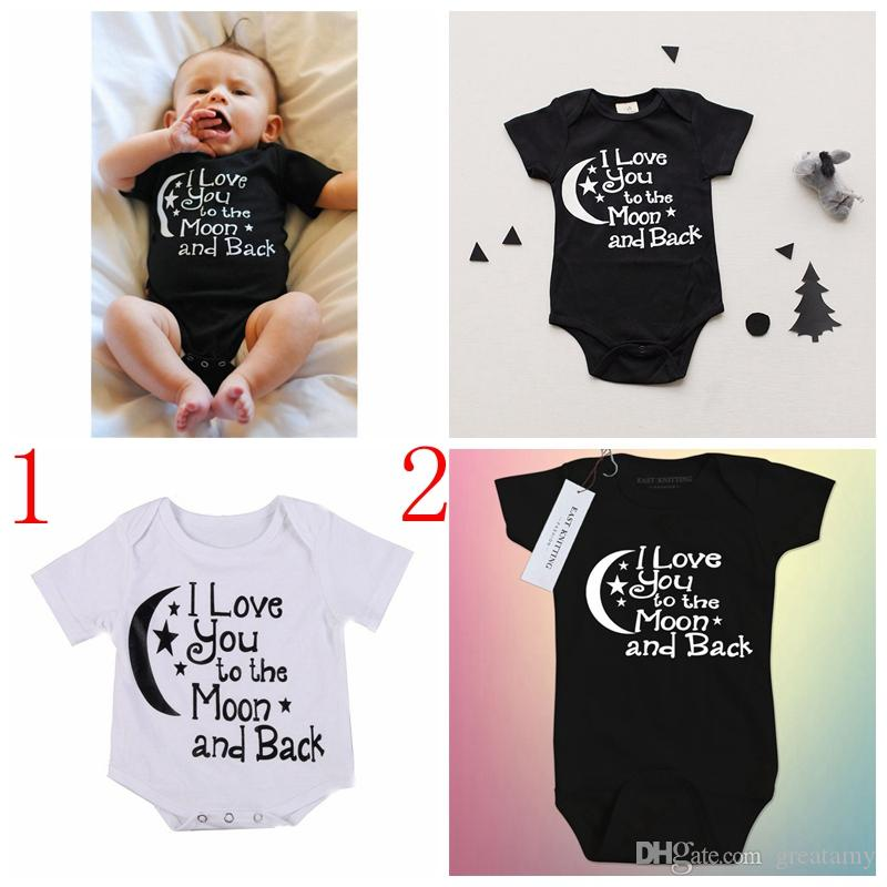 2b4eab27ac7 2019 Newborn Baby Boy Summer Cotton Rompers Jumpsuits Toddler Black White  Letter Print Boys Girls Clothes 0 24M From Greatamy