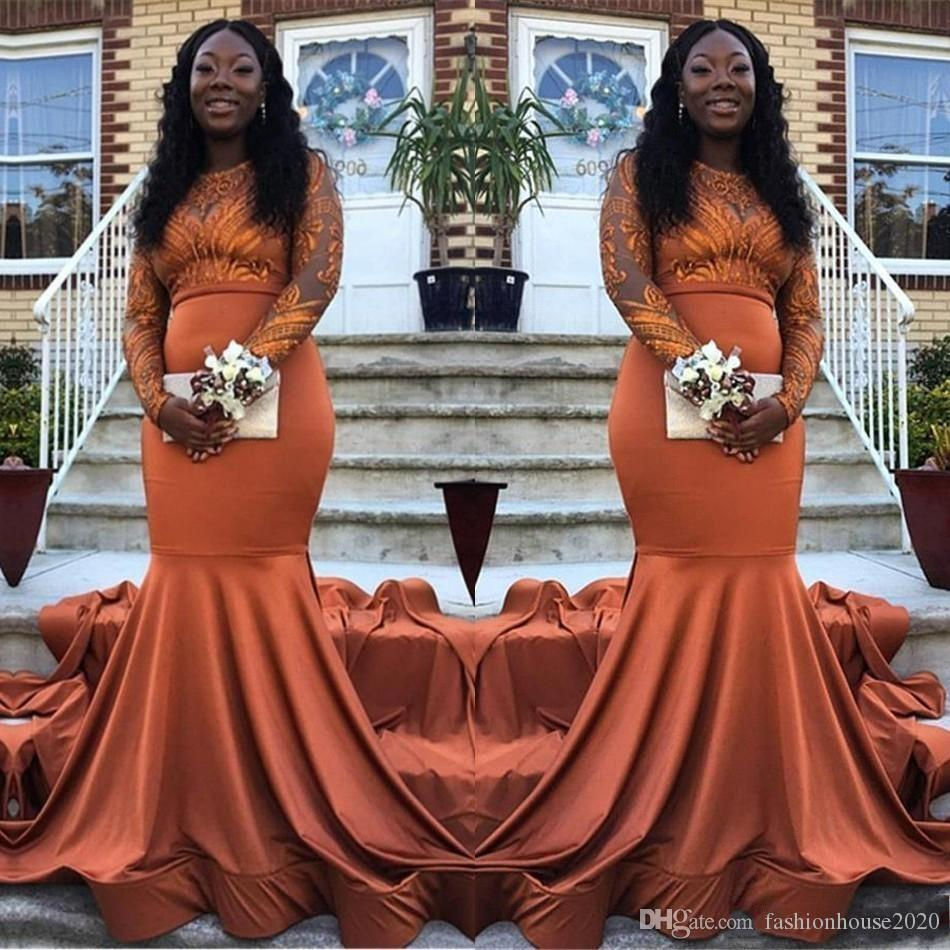 2019 New Sexy Orange Sirena Abiti da sera in pizzo Appliques Maniche lunghe Arabo Satin Black Girl Sweep Treno Plus Size Prom Abiti da festa