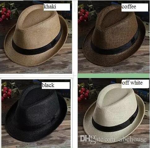 4a90cc11b02 2019 Men Women Panama Straw Hats Fedora Stingy Brim Hats Soft Fashion For  Unisex Summer Sun Beach Caps Linen Jazz Hat From Abchouse