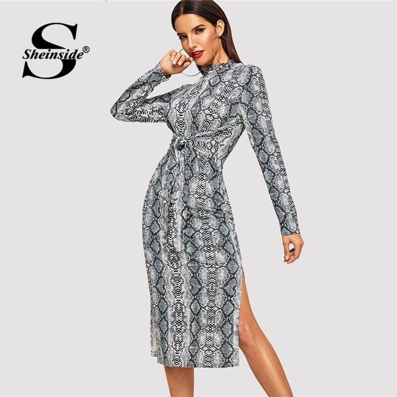 d59e3c468d Sheinside Snake Skin Print Twist Front Dress Workwear Fit And Flare High  Neck Slit Dresses 2018 Autumn Women Long Sleeve Dress Sundresses Womens  Dressing ...