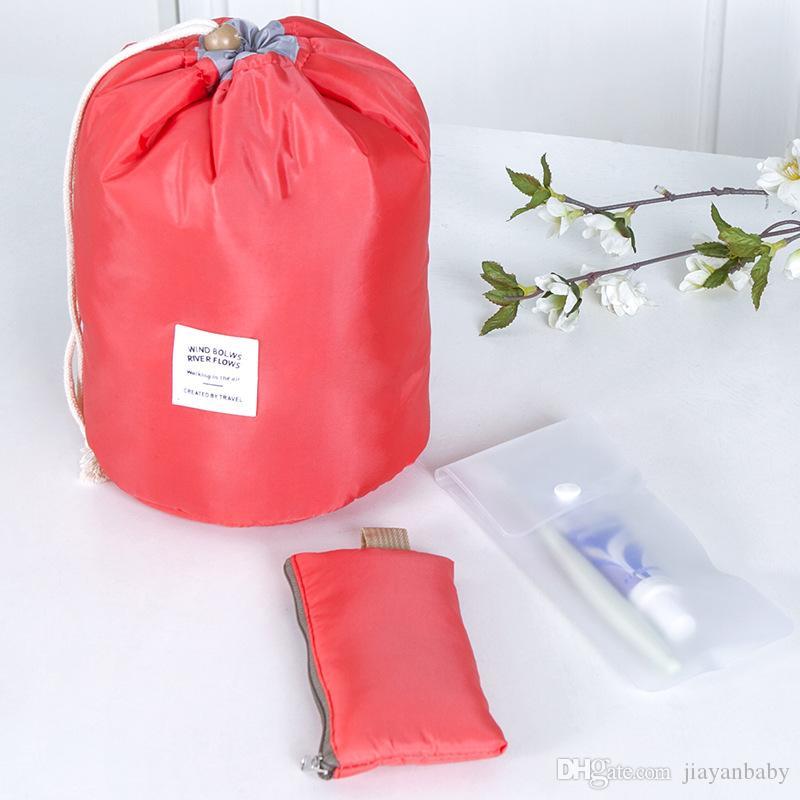 New Arrival Barrel Shaped Travel Cosmetic Bag Nylon Polyester Drawstring Elegant Drum Wash Bags Makeup Organizer Storage Bags DHL shipping
