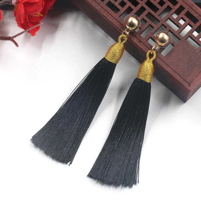 2326120aee46e 8 Colors Long Tassel Gold Stud Earring Hyperbole Statement 2019 Fashion  Temperament Earrings Jewelry Fringe Eardrop For Women Accessories