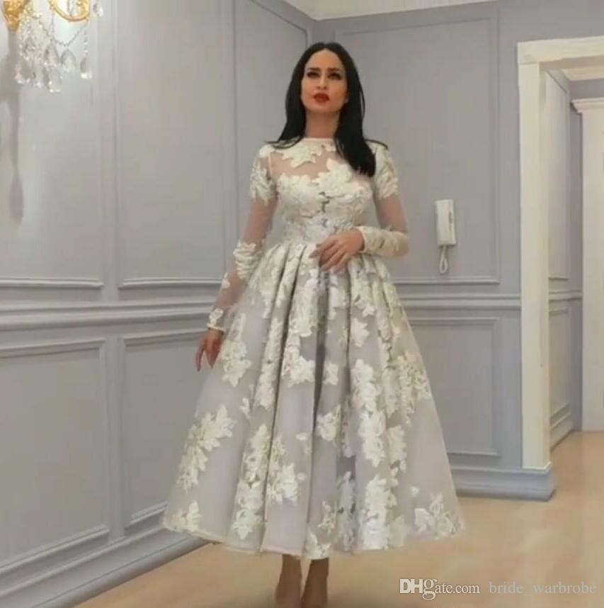 African A Line short Wedding Dresses With Long Sleeves Lace Appliques Tea Length Bridal Dresses Saudi Arabic Wedding Gowns Plus Size