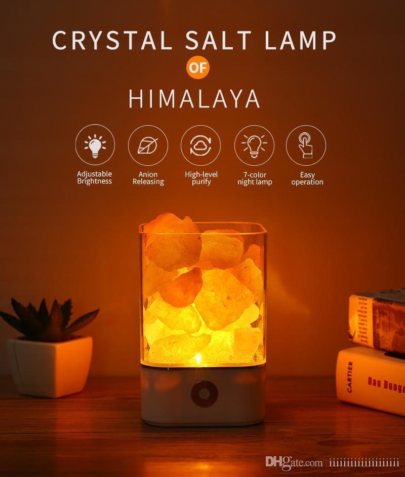 Festival Geschenk USB Crystal Light natürliche Himalaya-Salzlampe LED-Lampe  Luftreiniger Stimmung Creator Indoor warm Tisch Schlafzimmer Lava Lampe