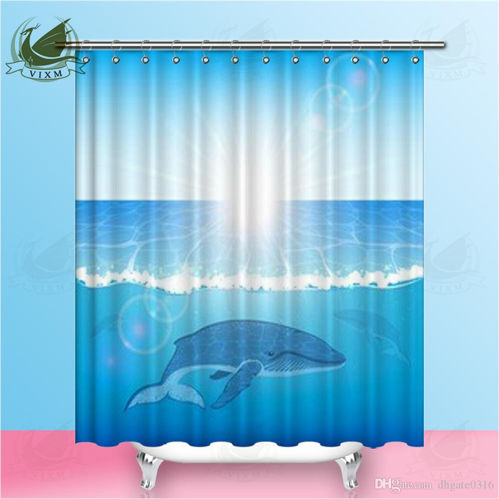2019 Vixm Mediterranean Marine Life Cute Dolphin Blue Shower Curtains Sun Sea Water Waterproof Polyester Fabric For Home Decor From Dhgate0316