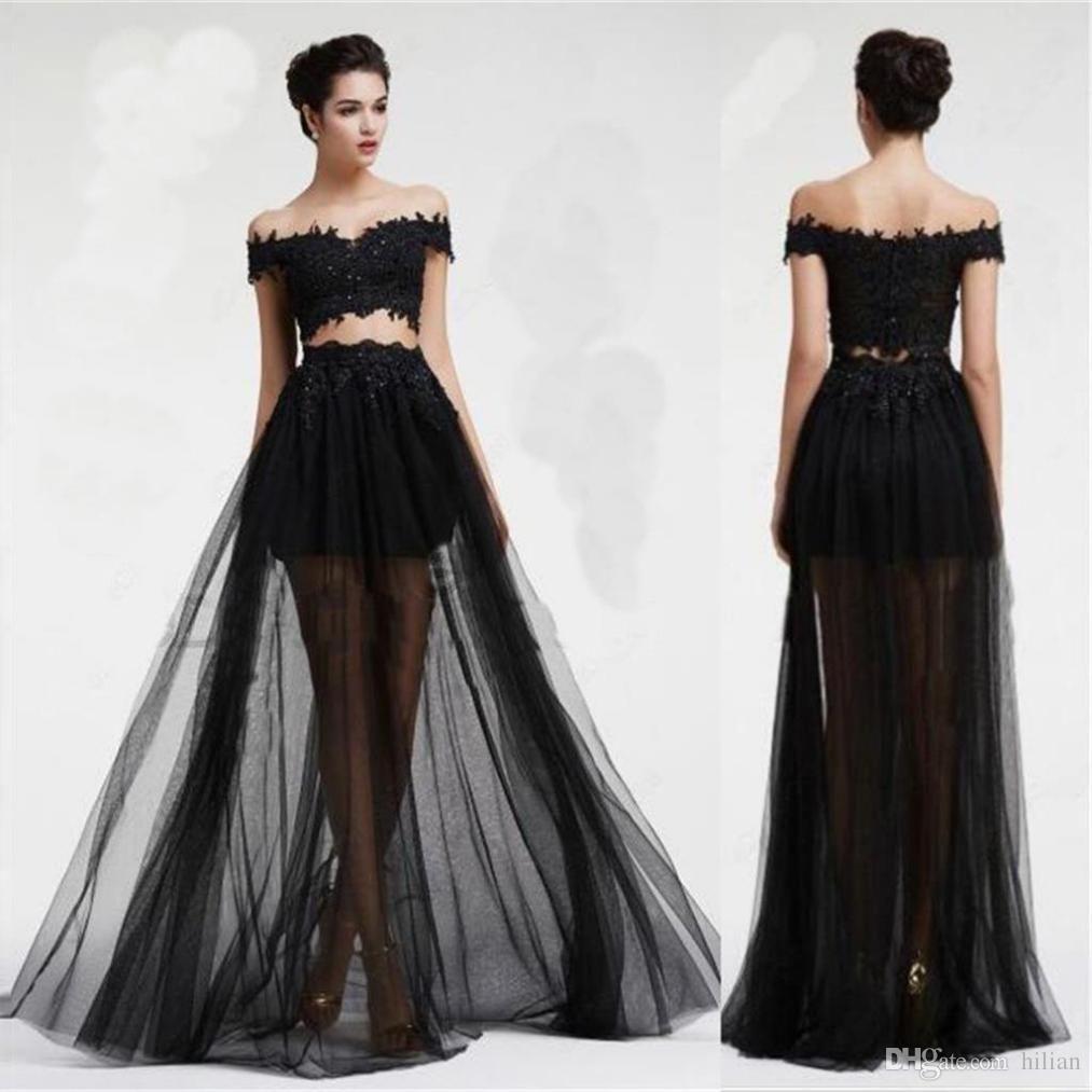 937108878a6 Black Bateau Tulle Prom Dress Vestido De Festa Floor Length Party ...