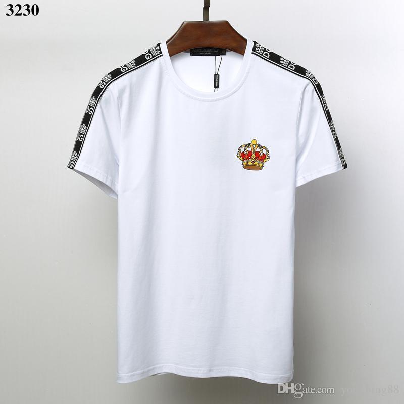 ec7f4c403b Acheter 19ss Mens Designers T Shirts DOLCE GABBANA Shirt Pull T SHIRT EN  COTON AVEC IMPRIMÉ T Shirts Roi Pour L'été Vetements De $29.85 Du  Yongbing88 ...