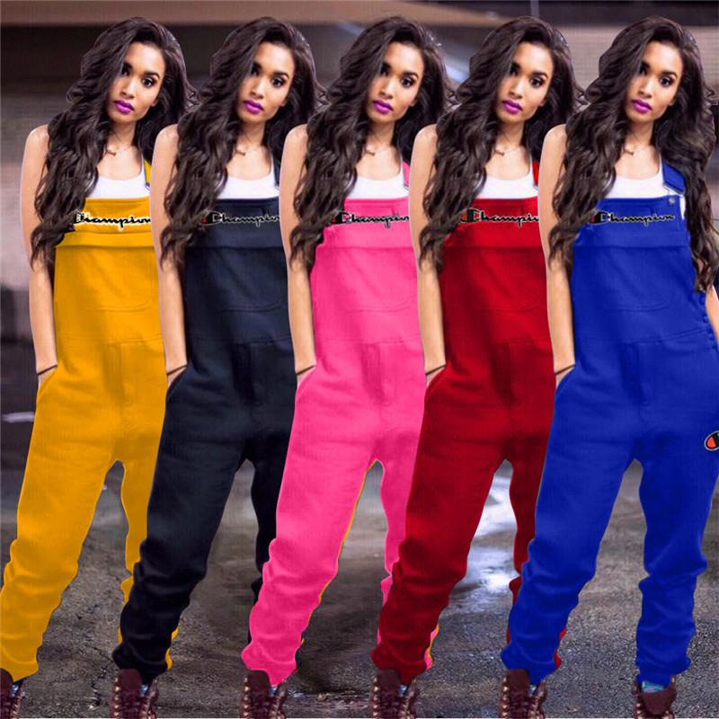 dd4f59b8b0d69 Spring Champions Embroidery Letters Women Jumpsuit Casual Suspender Pants  Fashion Overalls Sleeveless Romper Brace Trousers S-2xl A3202 New Online  with ...