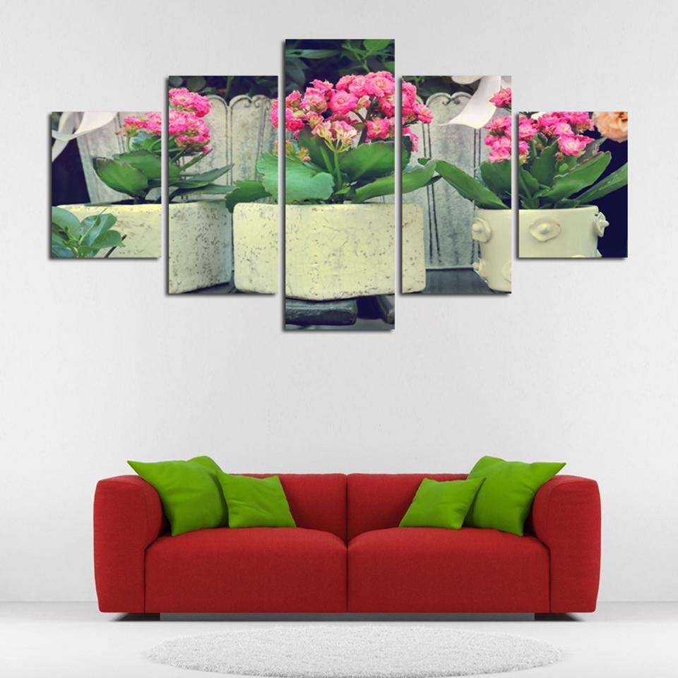 Modular HD Printed Pictures Home Decor Living Room 5 Panel Potted Pink Flowers Modern Canvas Painting Wall Art Poster Framework