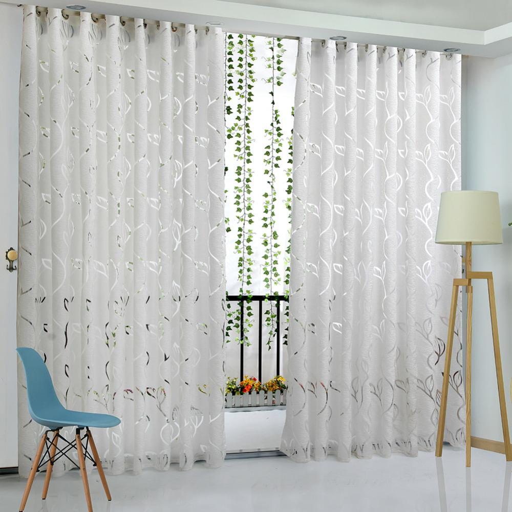Vine Leaf Partition Curtain for Bedroom Polyester Modern Curtains for  Living Room Balcony Window Sheer Curtains