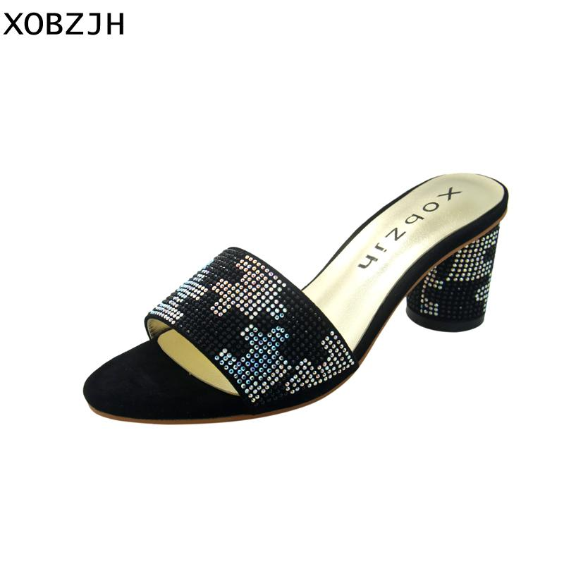 7eae655d696dc2 XOBZJH Women Black Sandals Summer 2018 Genuine Leather Peep Toe Rhinestone  Ladies Block Heel Sandals High 2.5 Inch Plus Size Strappy Sandals Skechers  ...