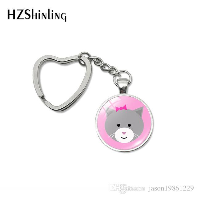 Fashion Cute Kitten Baby Lovely Heart Keychain Holder Little Cats Babies Cartoon Pattern Jewelry Car Key Chains Keyring Gifts