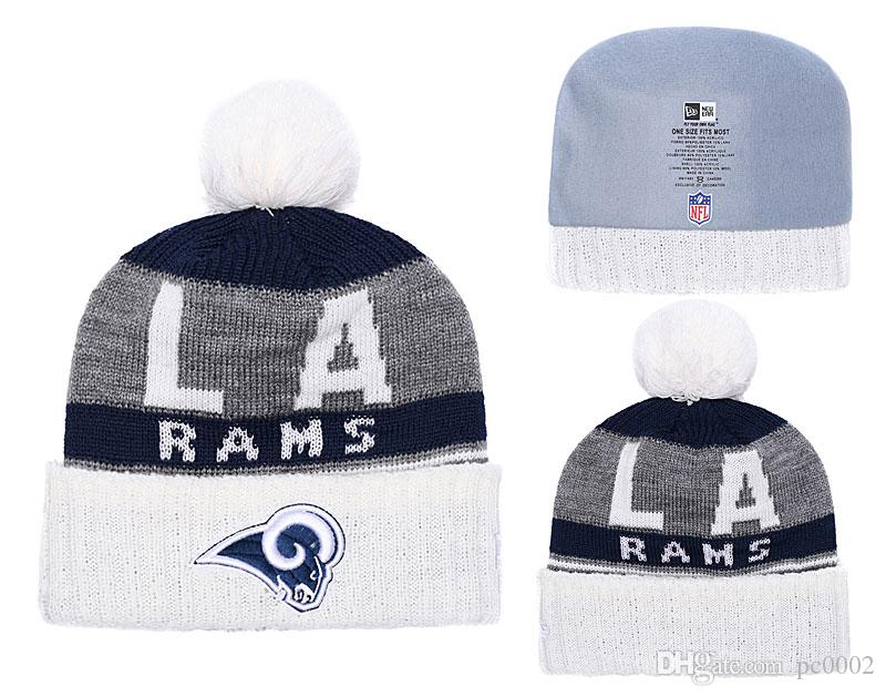 e433f81734b 2019 Men S Los Angeles Rams New Navy 2018 Sideline Cold Weather Official  Sport Gray Rebound Pom Cuffed Knit Hat From Pc0002