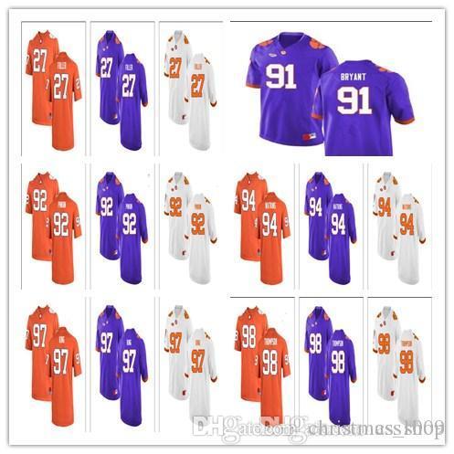 best sneakers 9ea6d 28d92 Clemson Tigers College Football 19 Charone Peake 39 Christian Groomes 42  Wilkins 45 Chris Register White Orange Purple Stitched Jerseys