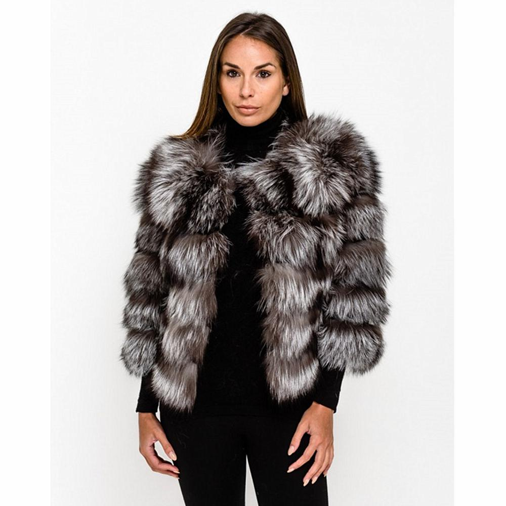 TOPFUR 2019 Fashion Winter Short Coat Leather Jacket Natural Silver Fox Real Fur Coat Women Three Quarter Sleeves Manteau Femme
