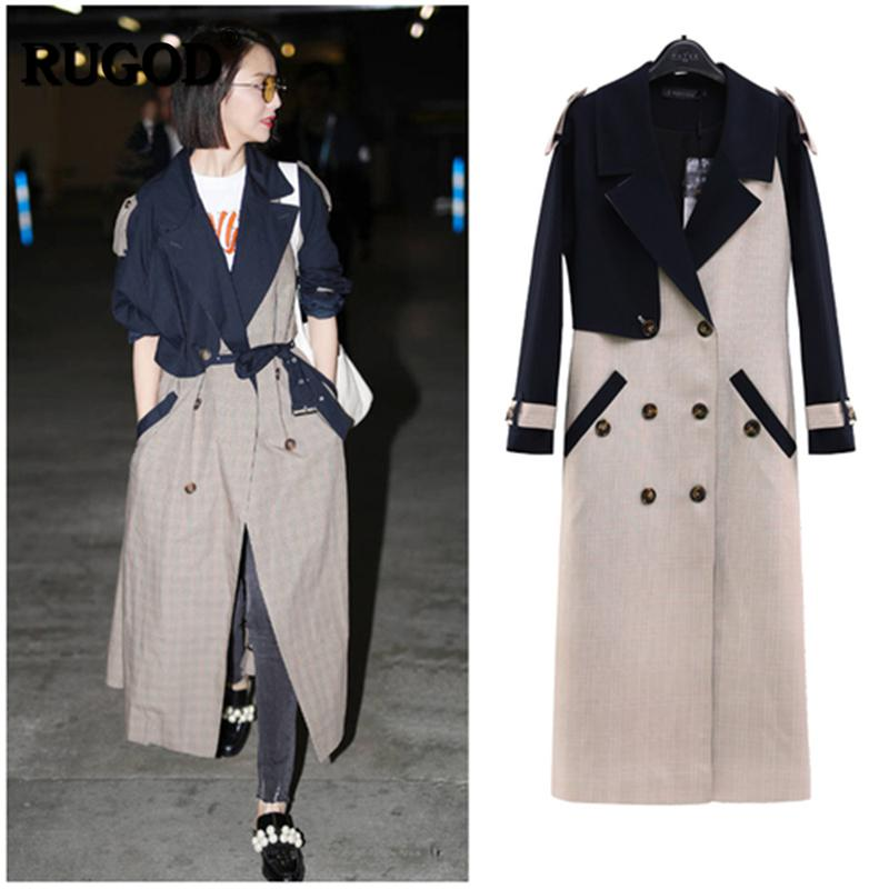 Fashion- 2019 New Trench Coat Long Style Double Breasted Turn-down Collar Spliced Wide-waisted Fashion Lady Casaco Feminino
