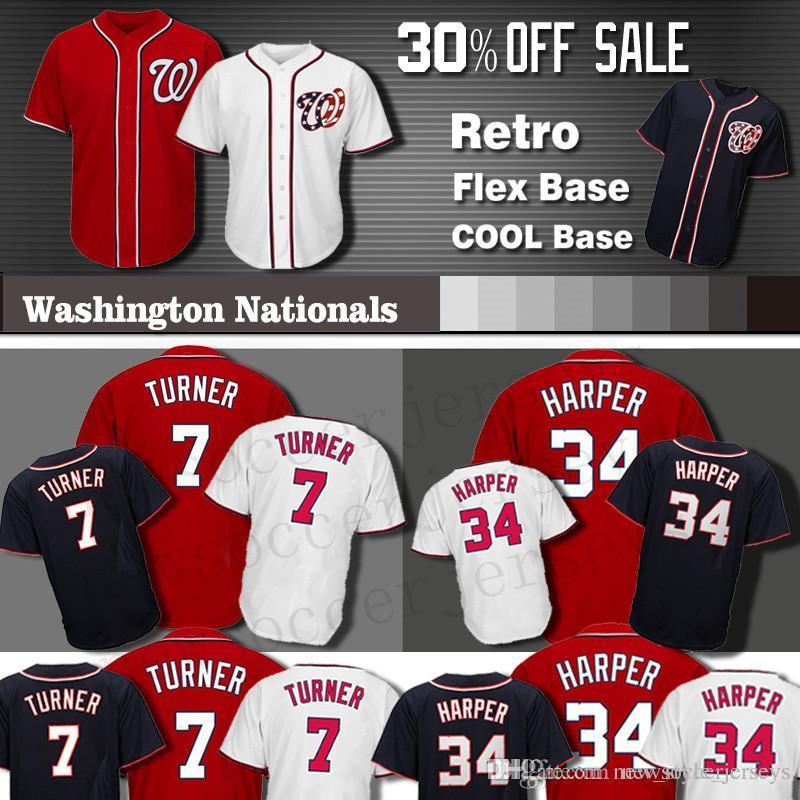 c2d578343f3 2019 Washington Harper Nationals Jersey Men COOL Base 34 Bryce Harper 7  Trea Turner Baseball Jerseys Turner From New style jerseys