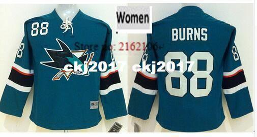 half off de23c a3321 New Women Brent Burns Jersey San Jose Sharks #88 Brent Burns Home Black  Green Stitched Embroidery Logo Ice Hockey Jerseys