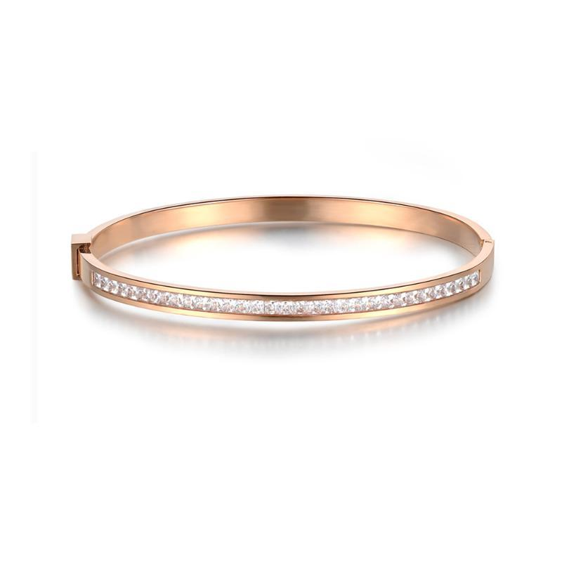 Classic Titanium Steel Rose Gold Color Bracelets Bangles Luxury Cubic Zirconia Wedding Bangle Jewelry For Women B18047
