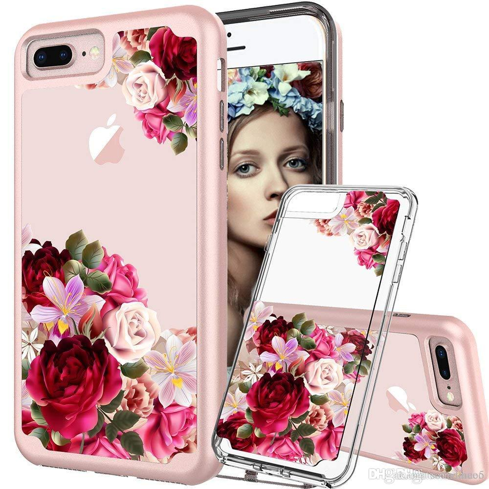 Flower Pattern Hybrid Dual Layer Clear Phone Case 2 in 1 PC TPU Full Protection Rugged Shockproof Cover per iphone X 8 7 6s 6 plus OPP Aicoo