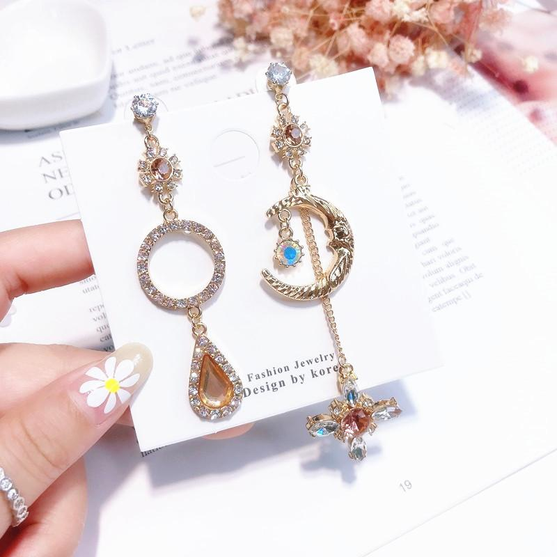 Asymmetry Rhinestone Earrings Ear Clip - Moon Stars Crystal Dangle Long  Drop Earrings Women Girl Shiny Luxury Jewelry Asymmetry Rhinestone Earrings  Moon ... 24570d723985