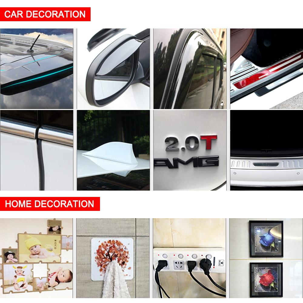 Auto Glue Sticker 8/10/15/20 mm x 3m Car Double Sided Tape Acrylic Foam Transparent Adhesive Car Stickers Decoration Accessories