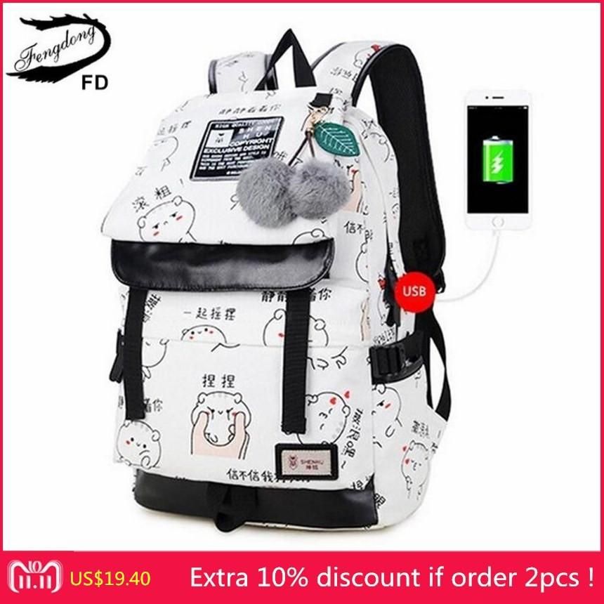 2019 FashionFengDong Female Fashion Letters Printing Backpack Usb Bag For  Laptop Women Travel Bags White Canvas School Backpack For Girls Backpacks  For ... c39a031bad1d0