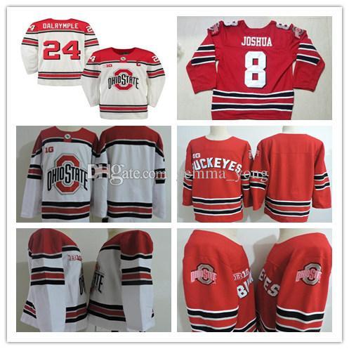 e2339ea1ff0 Custom Men's Ohio State Buckeyes Hockey Jerseys Big Ten Stitched Red White  Any Number Name 3 SASHA LAROCQUE 26 MASON JOBST 7 WYATT EGE